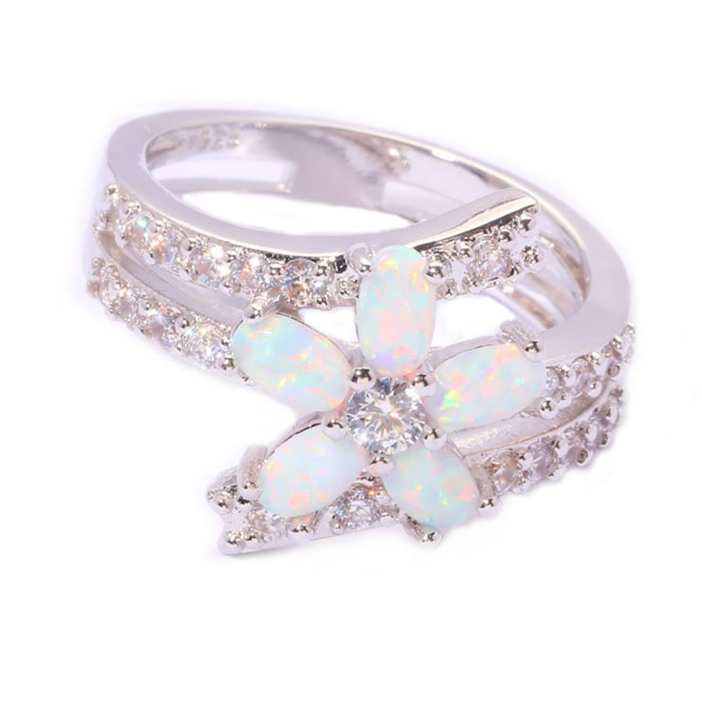 T-Ring White Fire Opal Cubic Zirconia Fashion Jewelry Ring for Women Engagement Wedding Rings