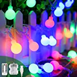 Colored Led Globe String Lights - Battery Operated USB 2 in 1 Christmas Fairy Lights 40Ft 8 Modes Remote Control Waterproof for Indoor Outdoor Bedroom Party Garden Patio Decoration