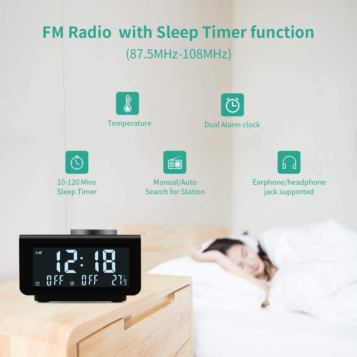 Upgraded Alarm Clock Radio, Digital Alarm Clock with FM Radio, Dual USB Charging Ports, Dual Alarms with 7 Alarm Sounds, Snooze, 5 Level Brightness Dimmer, Temperature Display, for Bedroom