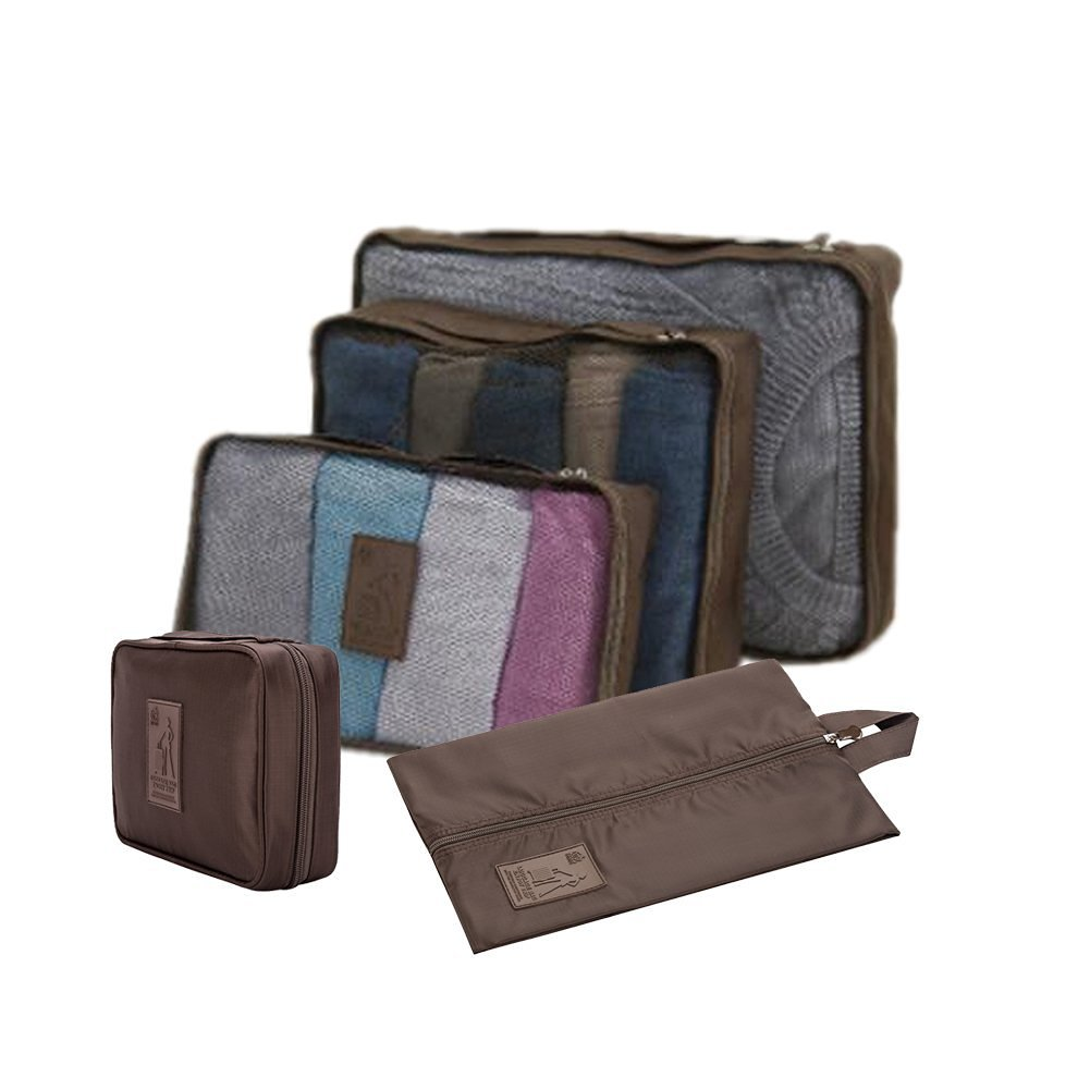 Honeystore Travel Packing Cubes - 5 pcs Set - Packing Organizers for Accessories Coffee