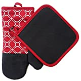 silicon pot holder set - Shaped Oven Mitts and Pot Holders Set of 2 for Kitchen Set With Cotton Neoprene Silicone Non-Slip Grip, Heat Resistant, Oven Gloves for BBQ Cooking Baking, Grilling, Machine Washable (Red Neoprene)
