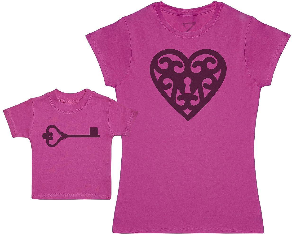 Zarlivia Clothing Locket and Key Ensemble M/ère B/éb/é Cadeau Femme T Shirt /& B/éb/é T-Shirt