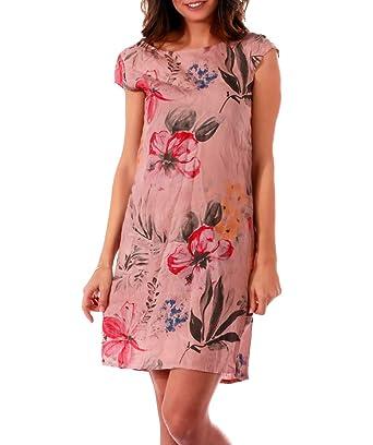 532e9d000e4a6 CHARIS MODA Leinen Kleid florales Muster 1 4 Arm mit Taschen  Amazon.de   Bekleidung