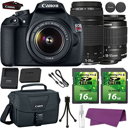Canon EOS Rebel T5 DSLR Camera with Canon EF-S 18-55mm IS Lens + Canon EF 75-300mm III Lens + 2 Pieces 16GB SD Memory Card + Canon Bag + Cleaning - Vs Filter Polarizing Uv