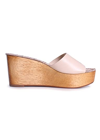 Amazon.com | Tory Burch Patty Leather 80MM Slide Wedges in Dulce de Leche | Shoes