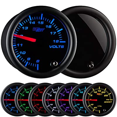 "GlowShift Tinted 7 Color Volt Voltmeter Gauge - Voltage Range 8 - 18 Volts - Black Dial - Smoked Lens - 2-1/16"" 52mm: Automotive"