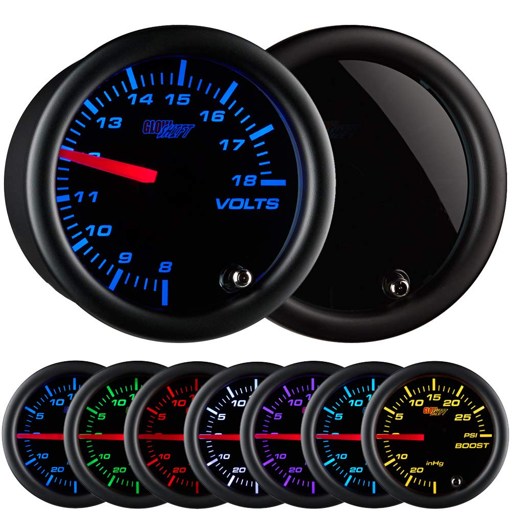 GlowShift Tinted 7 Color Volt Voltmeter Gauge - Voltage Range 8 - 18 Volts - Black Dial - Smoked Lens - 2-1/16'' 52mm by GlowShift