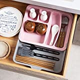 Astra Gourmet Expandable Flatware Drawer Organizer/Plastic Cutlery Tray/Kitchen Utensil Drawer Organizer/Storage Container Holder, Pink