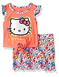Hello Kitty girls Skirt Set With Fringed Skirt and Flutter Sleeve Top