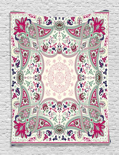Paisley Wall Decor Tapestry by Ambesonne, Damask Design Floral