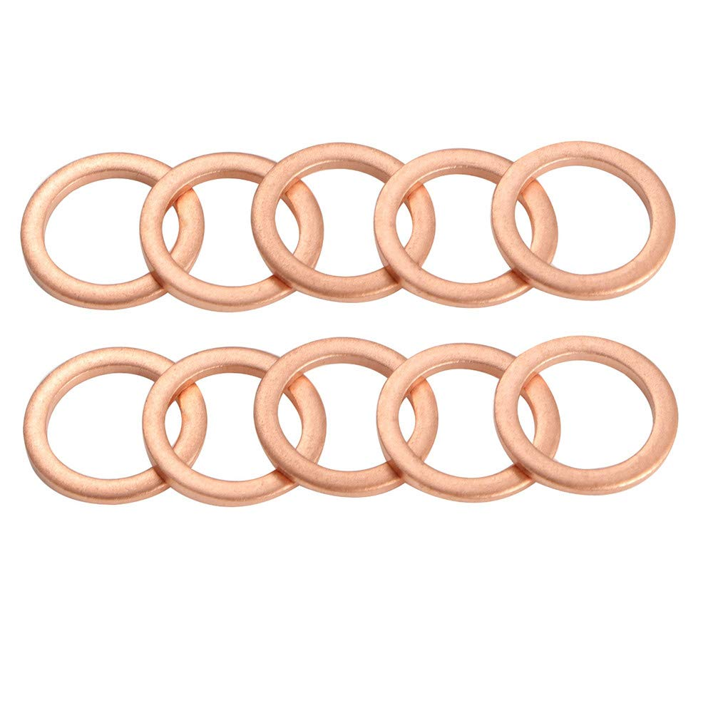M12 Copper Oil Drain Plug Crush Washer Gasket for BMW, M12 x 17 x 1.5, 10 Pack