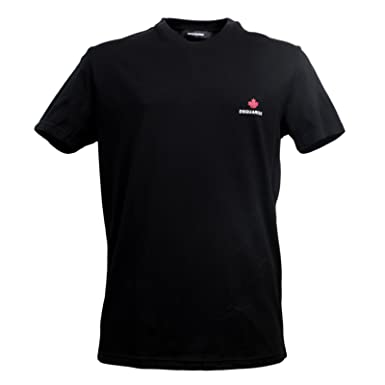 Dsquared2 Black T Shirt With Printed Maple Leaf Logo Ds26291 Amazon