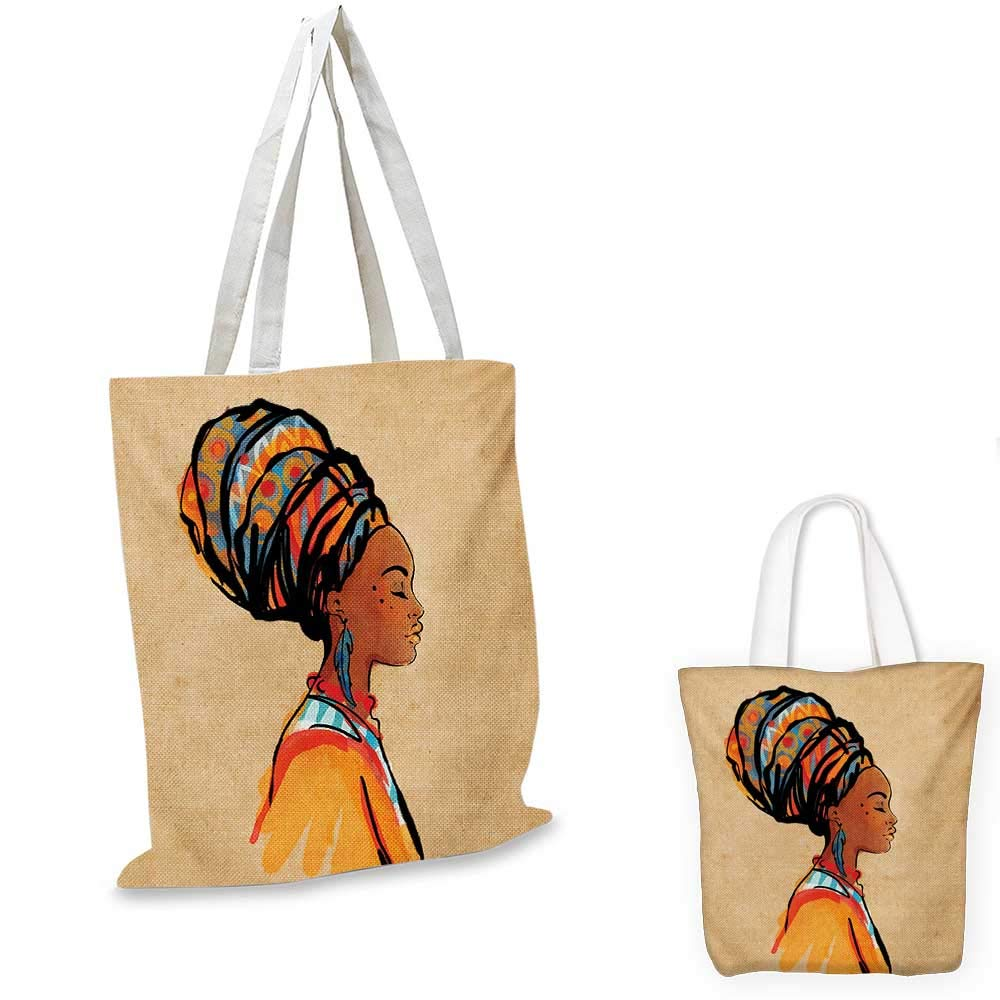 African canvas messenger bag Female Head Portrait in Ethnic Tribal Frame with Ornament Lines Design canvas beach bag Black Earth Yellow 12x15-10