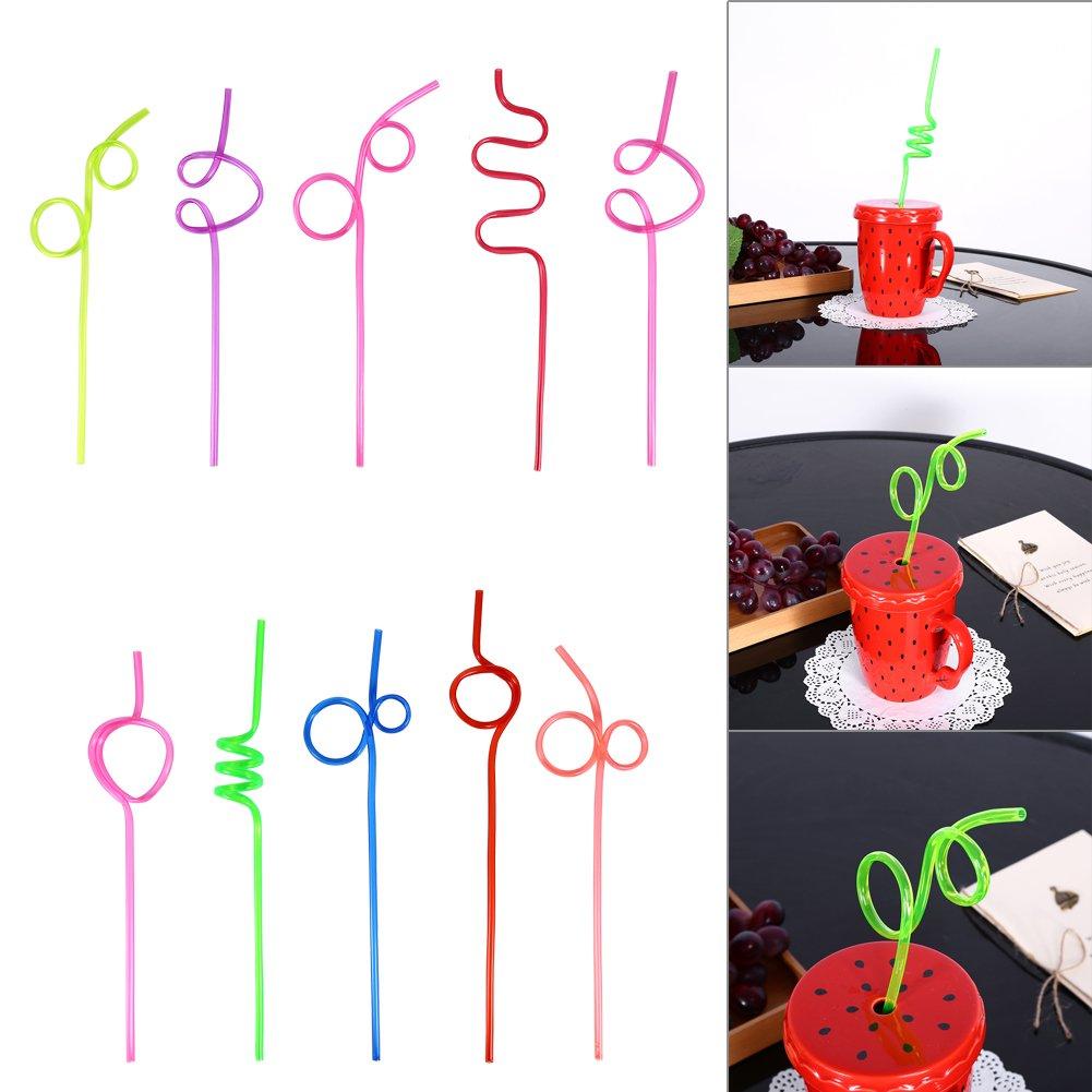 10pcs Colorful Cannucce Pazzo Ricci Loop Plastica paglia per la Festa di Compleanno Bar