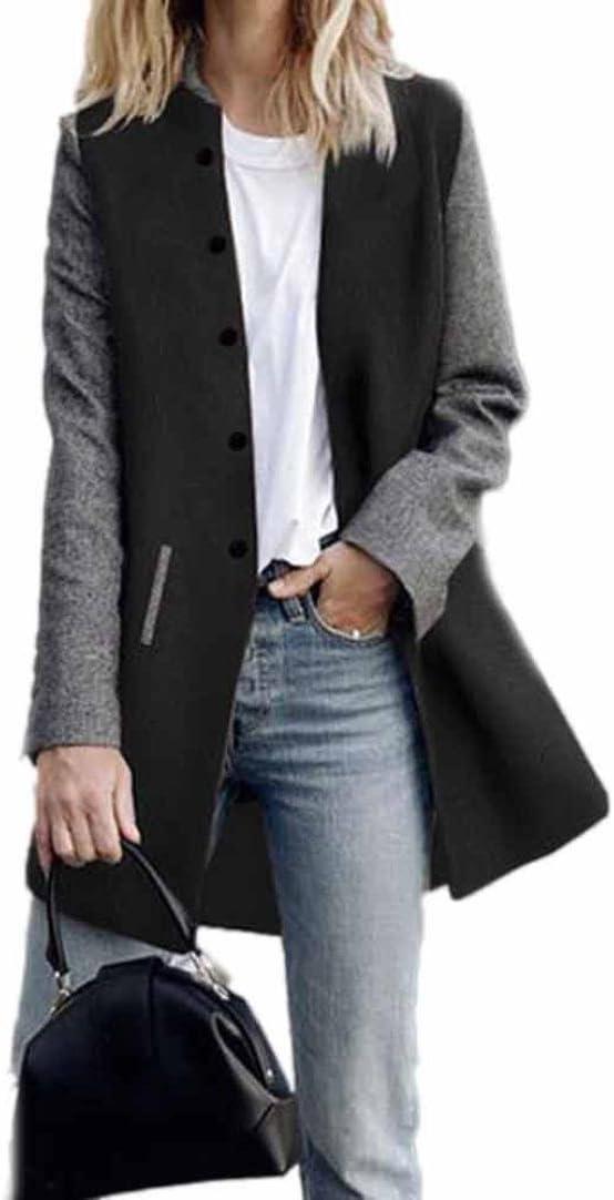 Toamen Cardigan Veste Femmes Long manteau Coutures de couleur contrastée Manche longue Décontractée poids léger (S, Noir)