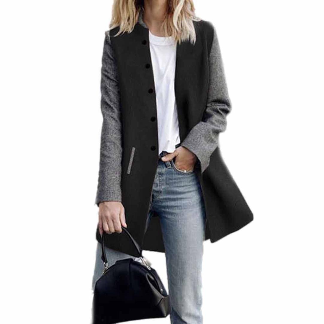 Toamen Cardigan Veste Femmes Long manteau Coutures de couleur contrastée Manche longue Décontractée poids léger (M, Noir)