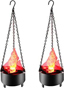 Fake Fire Flame Light 3D Hanging Effect Electronic LED Simulated Flame Lamp Halloween Decor Night Light for Christmas Festival Campfire Night Clubs Home Bar Hotel Decoration 2-Pack