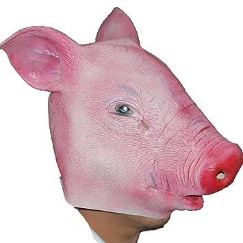 LOMYEN Máscara Festiva Máscara De Forma De Cabeza De Cerdo Máscara De Látex No Tóxico Y