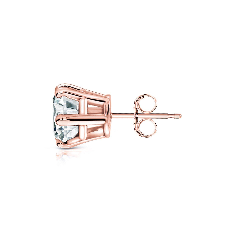 6-Prong Basket Diamond Wish 14k Rose Gold Single Stud Round Diamond Earring Push-Back 1//8 to 1 carat TW, Good, I1-I2
