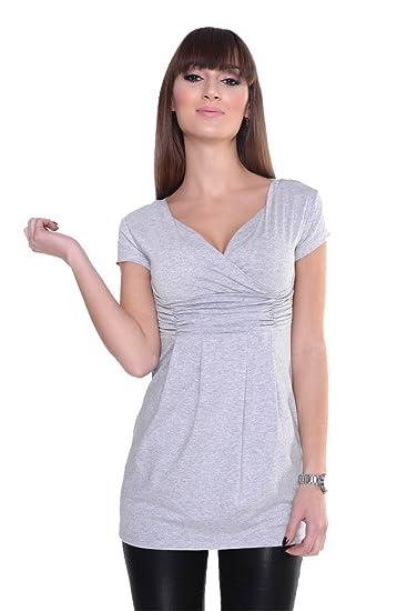 0130 Longshirt Shirt Top Mini Kleid V-Ausschnitt Gr 36 38 40 42 44 46 48