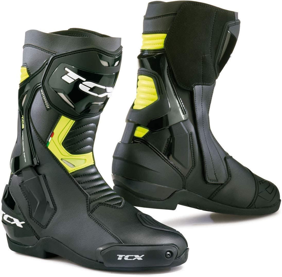 Black//Grey//Yellow Fluo 42 TCX Rt-Race Pro Air Mens Street Motorcycle Boots