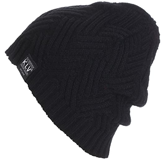 KUYOU Mens Winter Mixed Color Stripes Knitted Hat Ski Skull Cap