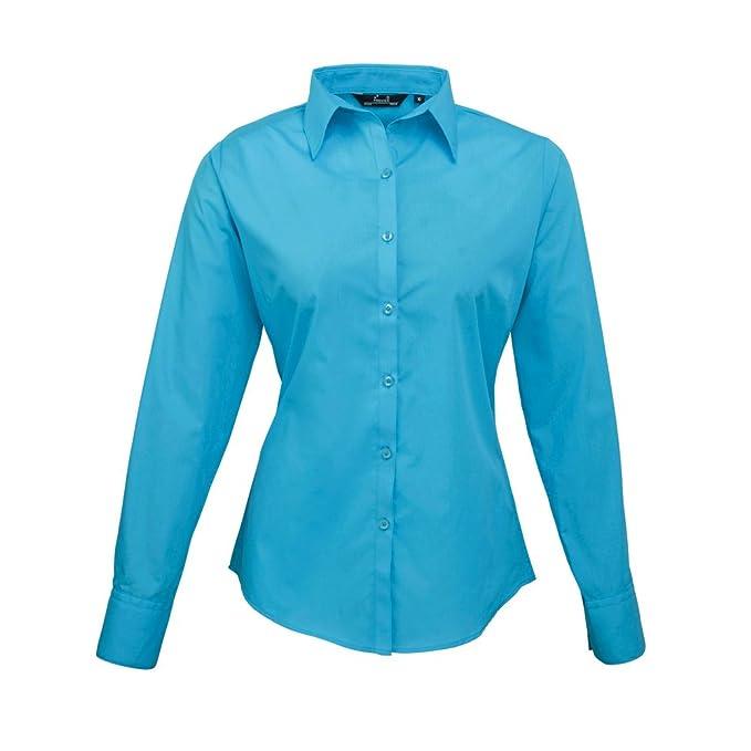Premier para mujer Popelina blusa de manga larga Azul turquesa 50