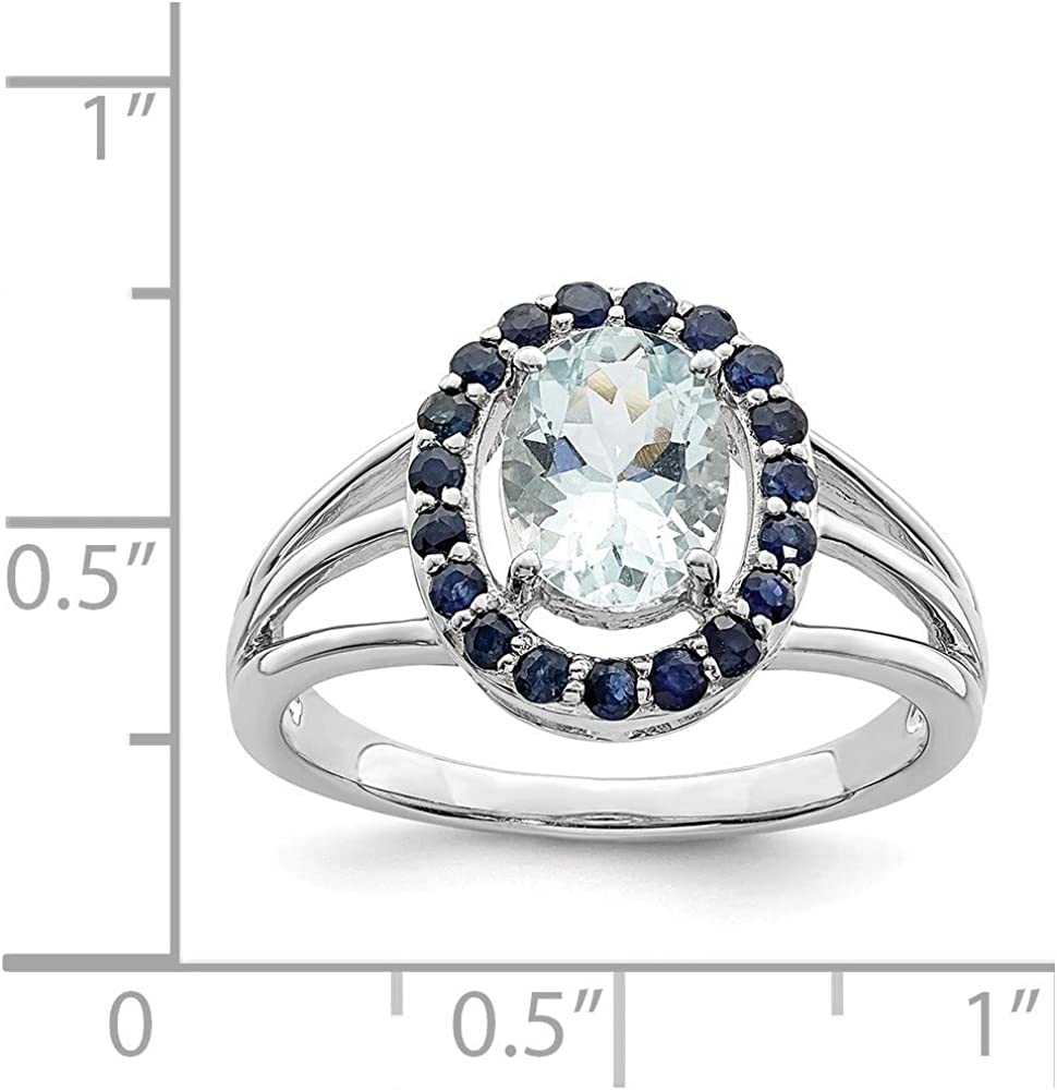 Sonia Jewels Sterling Silver Diamond /& Simulated Aquamarine Oval Ring 2mm