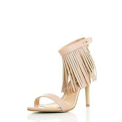 Adriana's Womens Fringe Tassel Open Toe Ankle Strap Cuff Single Sole Stiletto Pump Shoes