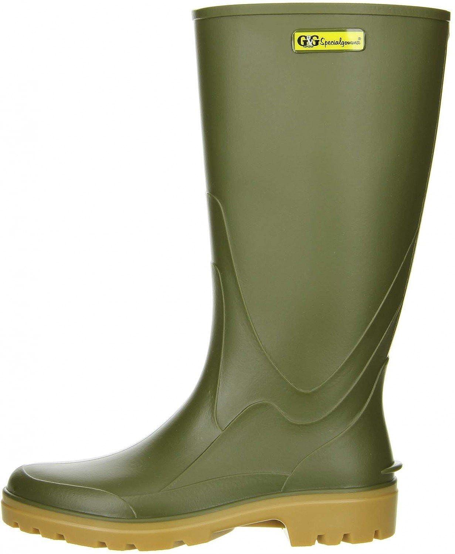 G&G Damen Herren Gummistiefel Nitrilgummi Brandsohle oliv, Größe:37;Farbe:Grün