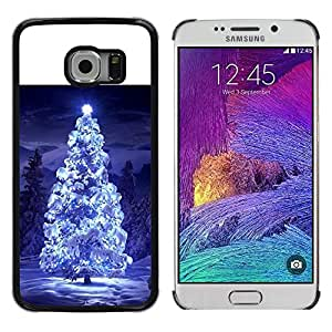LECELL--Funda protectora / Cubierta / Piel For Samsung Galaxy S6 EDGE SM-G925 -- Christmas Tree Blue Snow Winter Night Lights --