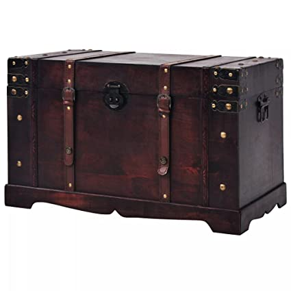 Amazon.com: Fesnight Vintage Treasure Chest Wood Storage Box ...