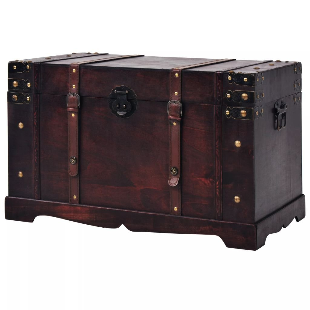 Fesnight Vintage Treasure Chest Wood Storage Box Trunk Cabinet with Latch Closure and Handles for Bedroom Closet Home Organizer Collection Furniture Decor 26'' x 15'' x 15.7'' (L x W x H)