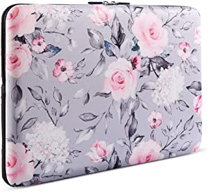 Laptop Sleeve, iCasso 13-13.3 Inch Stylish Flower Pattern Canvas Stitching Leather Briefcase Cover Case Bag for MacBook Air/Pro/Ultrabook/Notebook/iPad Pro - Tea Rose
