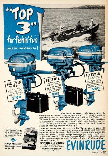 1951 Ad Evinrude Fleetwin Fastwin Big Twin Boat Motor 4637 North 27th Street - Original Print Ad (Motors Twin Big)