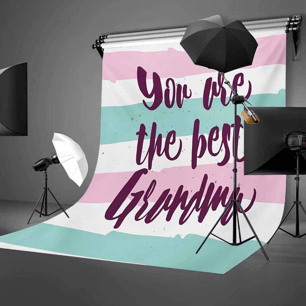 Grandma 6.5x10 FT Photo Backdrops,Hand Drawn Calligraphic Quote on a Pastel Colored Stripes Background Background for Child Baby Shower Photo Vinyl Studio Prop Photobooth Photoshoot