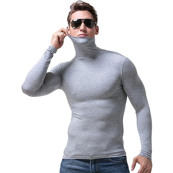 YiLianDa Hombres Camiseta Térmica De Cuello Alto Y Vuelto Manga ...