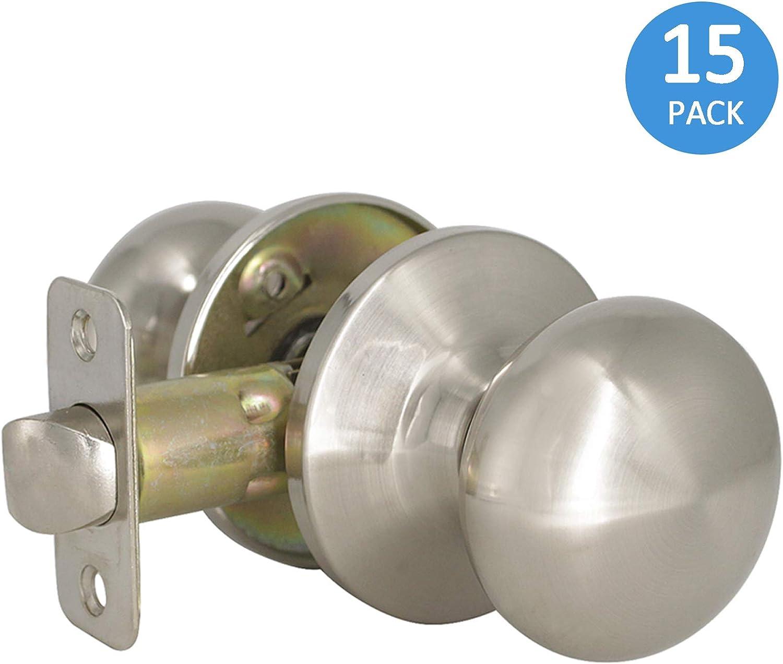 Gobrico Satin Nickel Privay Door Knob Bed and Bathroom Door Lockset Flat Ball 15Pack