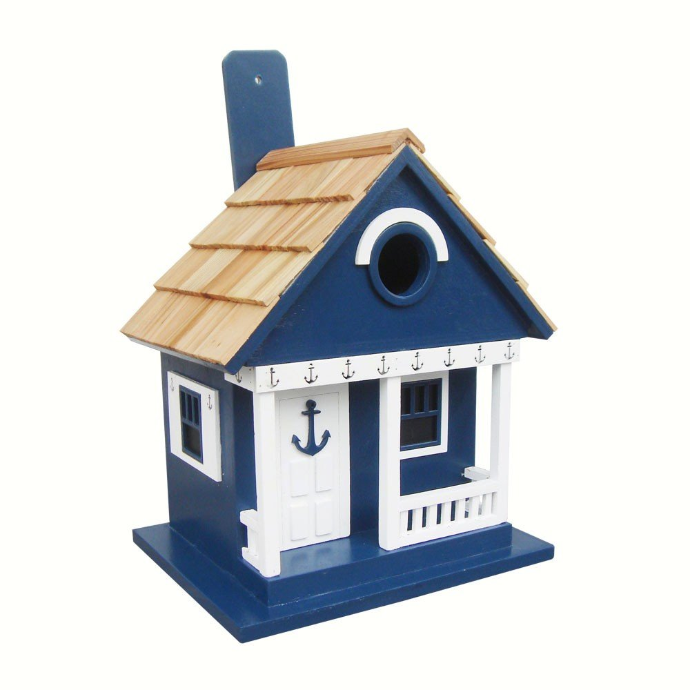 Amazon Home Bazaar Hand Made Anchor Cottage Navy Birdhouse