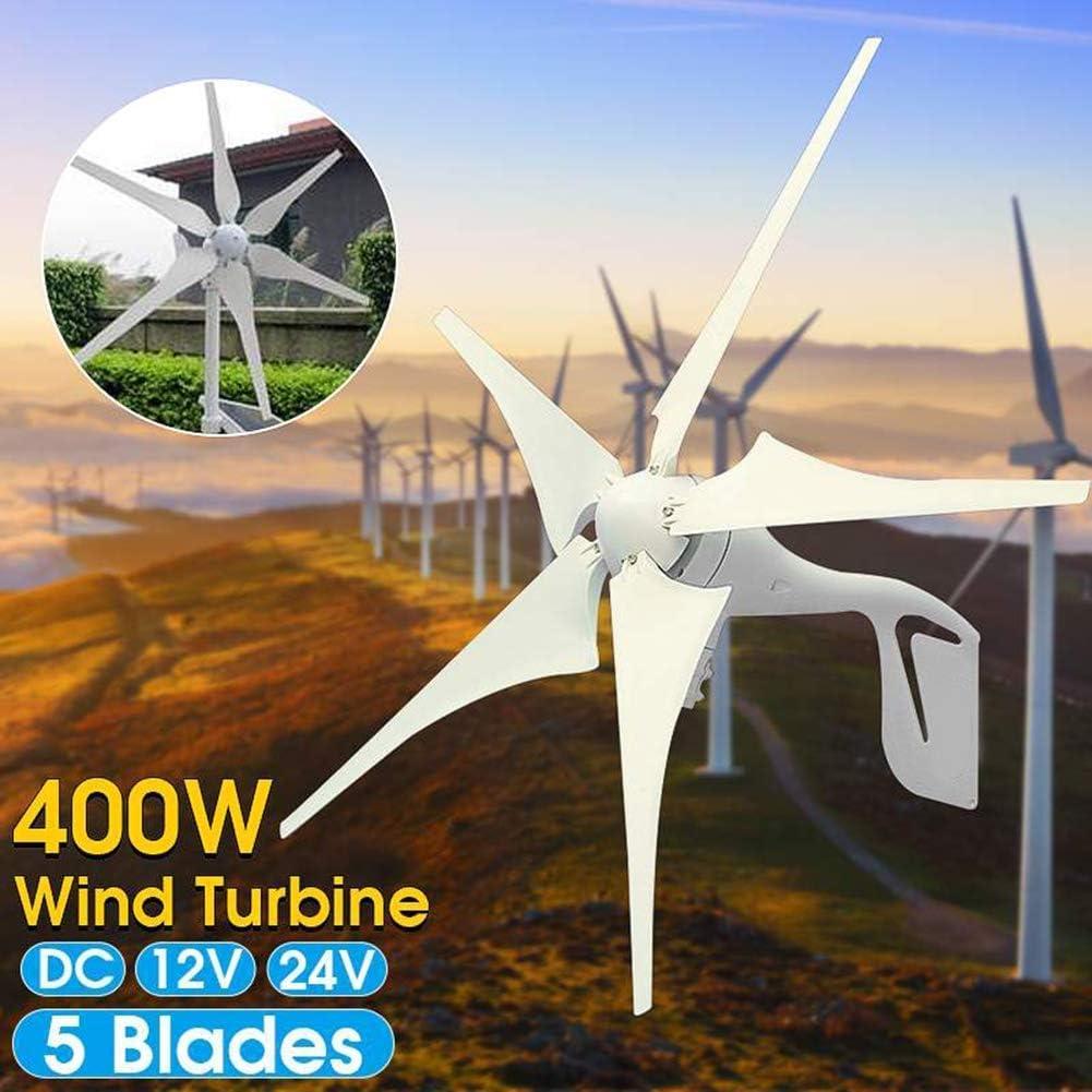 LWQ Aerogenerador, 400W generador de energía eólica 5 Hojas + 12V / 24V Impermeable Controlador de Carga 300 / 600W energía eólica generador de turbina