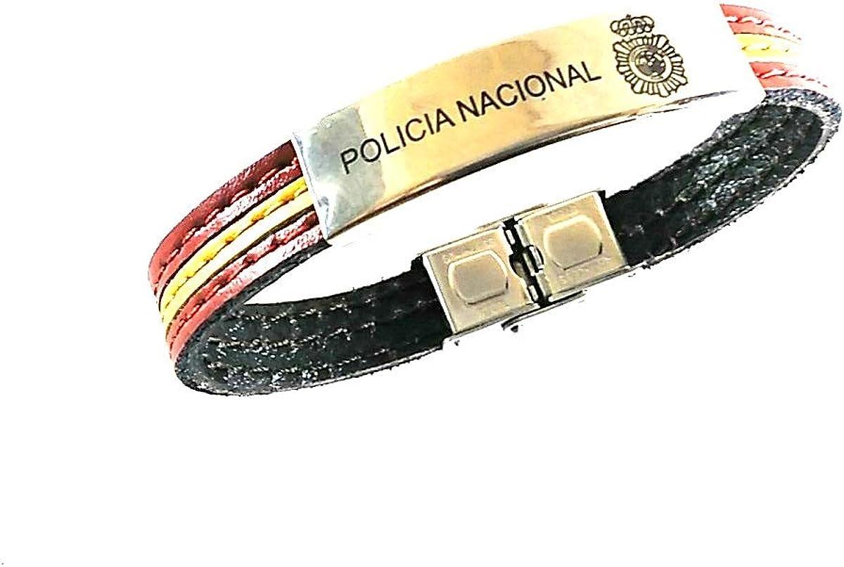 Desconocido Pulsera Policía Nacional y bandera de España piel: Amazon.es: Ropa y accesorios