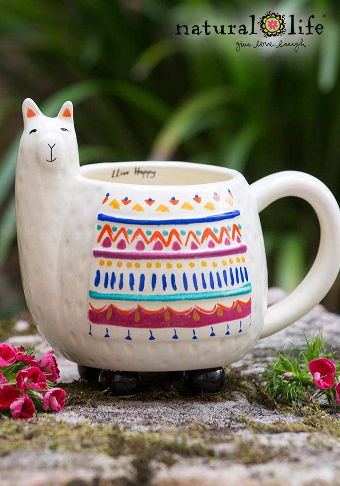 16 oz Natural Life Llama Mug Tea Decor Fun 3D Ceramic Llama Mug With Handle for Coffee Cute Gifts