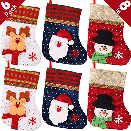 Homemade Christmas Stocking - PartyBus 8 Inch Mini Christmas Stockings 6 Pack, 3D Quilted Velvet Embroidered Sequins Xmas Tree Decorations, Gift Card Holders Cash Bags Holiday Treats for Family Coworkers Neighbors Kids Dogs Cats