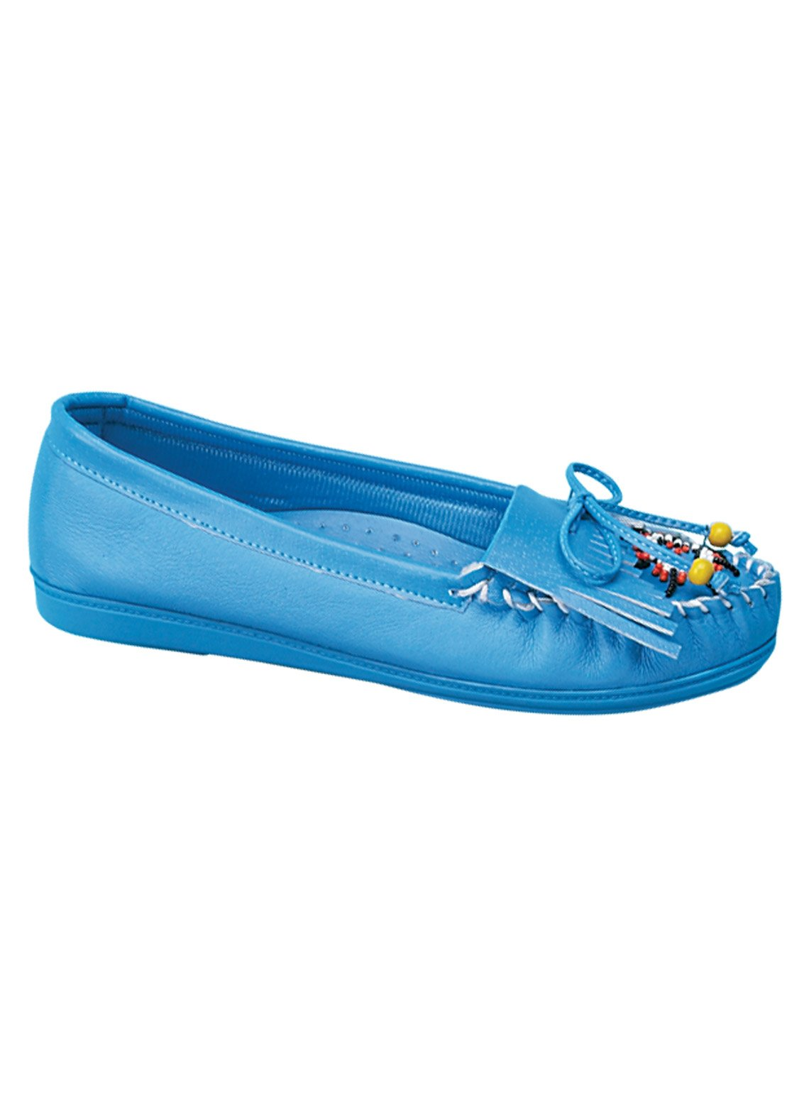 Genuine Leather Beaded Moccasins, Blue, Size 8 (Extra Wide)