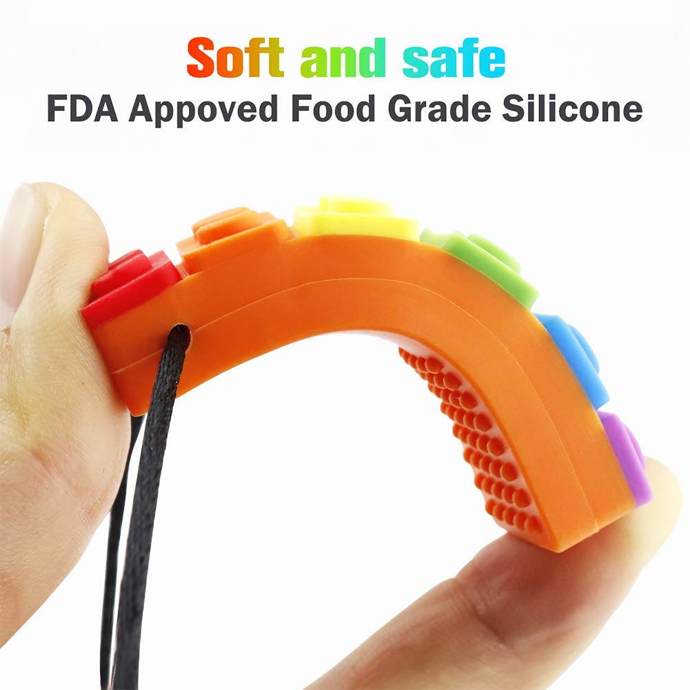Sensory Chew Necklace Pendant Chewlery Set for Boys and Girls, Silicone Chewy Brick for Kids with ADHD, Teething, Autism, Biting Needs (Multi-Colored, 2Pack)