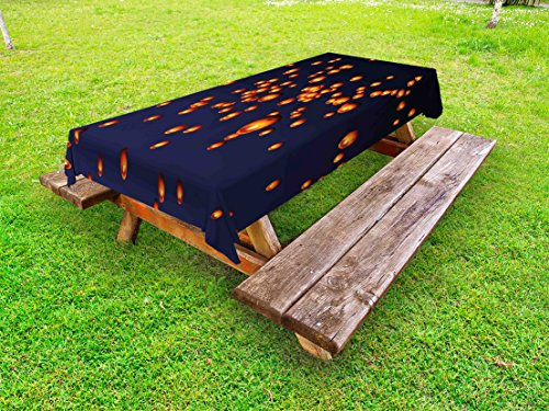 Ambesonne Lantern Outdoor Tablecloth, PingXi District Festival at Night Taipei Taiwan Good Vibes Hope for Future, Decorative Washable Picnic Table Cloth, 58 X 84 Inches, Night Blue Orange Taipei Lantern