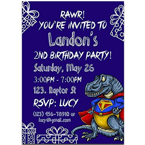 Super T REX Dinosaur Boy Birthday Party Invitations