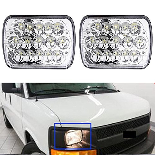 (7X6' Inch LED Headlight for Chevy Express Cargo Van 1500 2500 3500 Ford F650 High Low Beam H6014 / H6052 / H6054 / 6054, H4 Plug Replacement Kit Sealed Beam Super Bright)