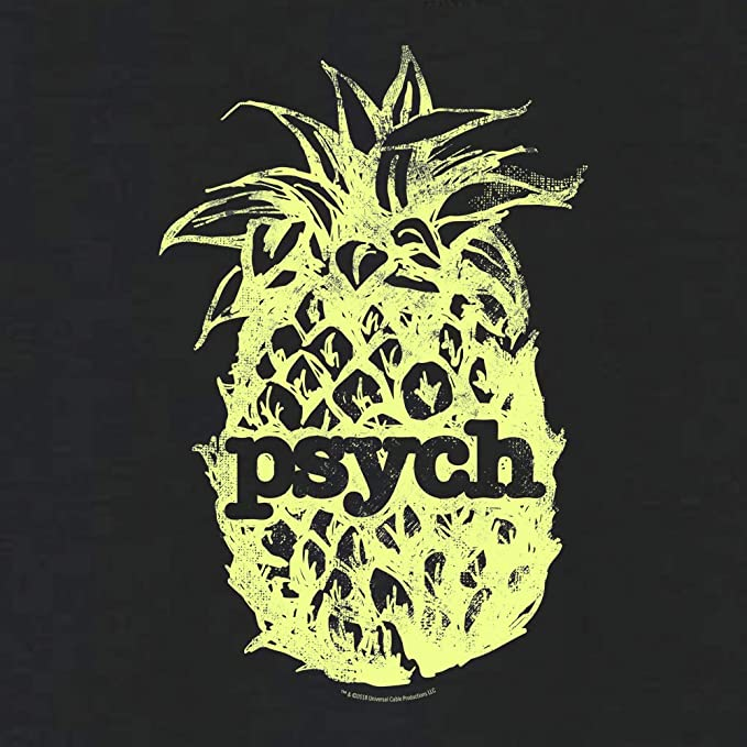 ff025447 Amazon.com: USA Network Psych Vintage Yellow Pineapple Women's Relaxed V-Neck  T-Shirt: Clothing