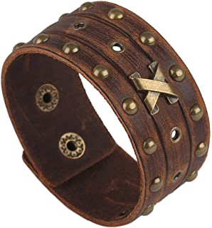 Holattio Mens Cool Wide Punk Rock Genuine Leather Tribe Wristband Cuff Bracelet Bangle Rope Black Brown
